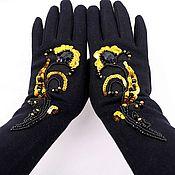 Аксессуары handmade. Livemaster - original item Gloves with embroidery winter insulated. Handmade.