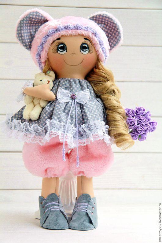 Коллекционные куклы ручной работы. Ярмарка Мастеров - ручная работа. Купить Куколка с зайкой и букетиком.. Handmade. Комбинированный, подарок девушке