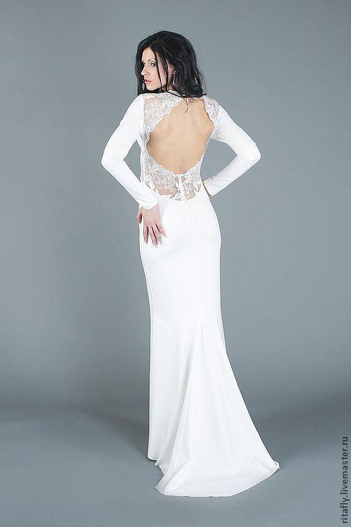 свадебное платье в пол со шлейфом