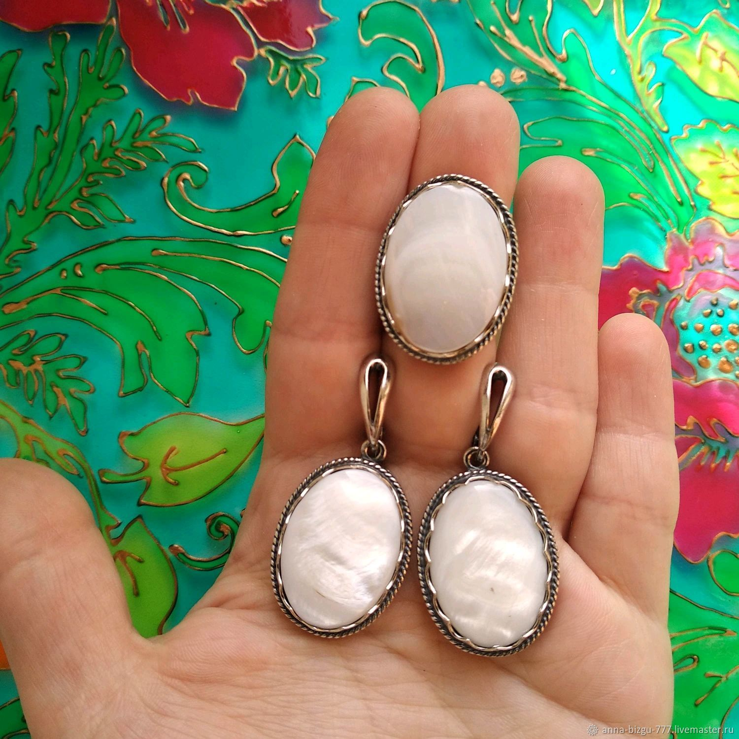 Earrings and ring with stones. Silvering, blackening. Hypoallergenic!, Jewelry Sets, Ivanovo,  Фото №1