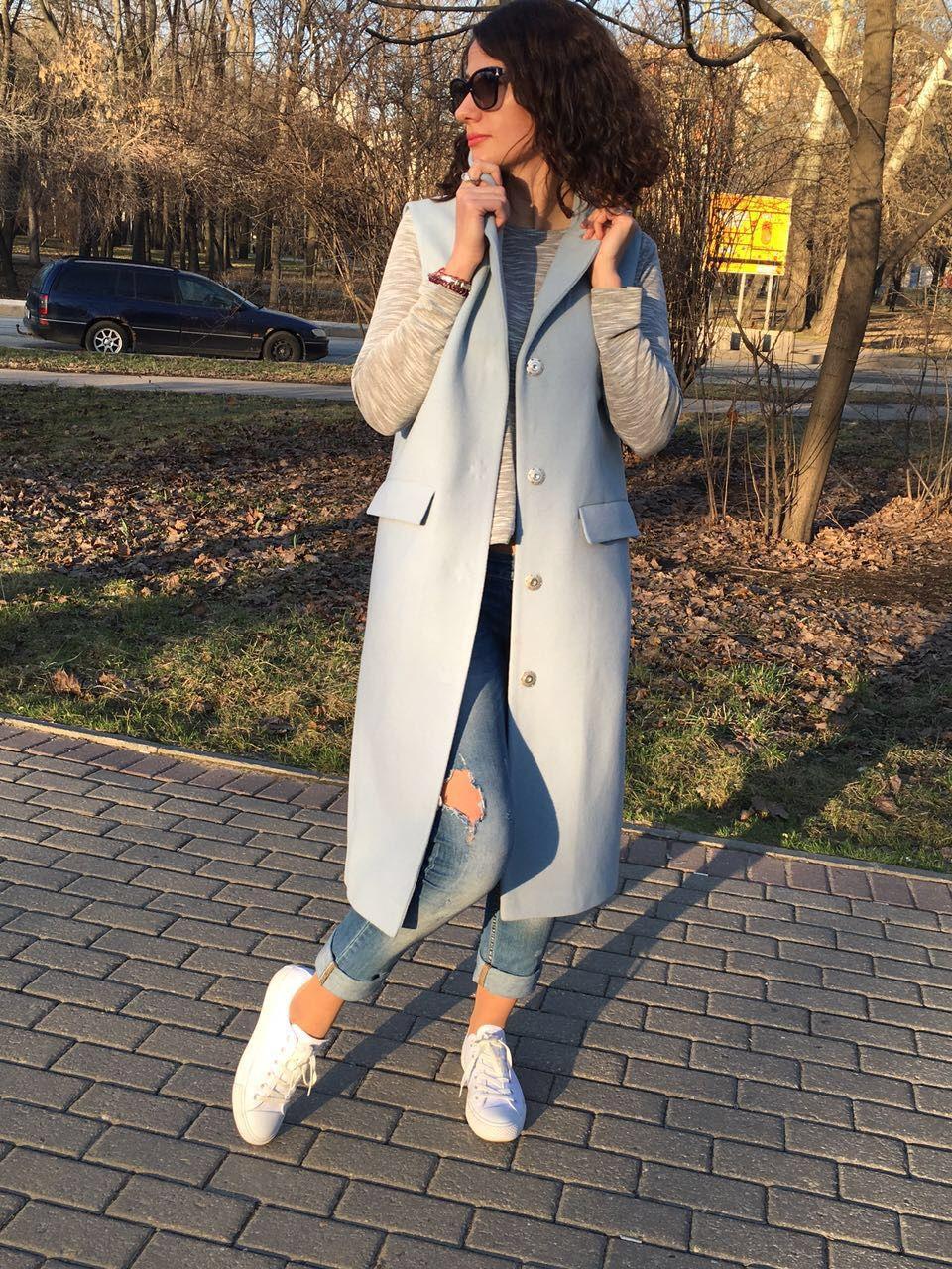 Vest blue. coat sleeveless, Vests, Moscow,  Фото №1