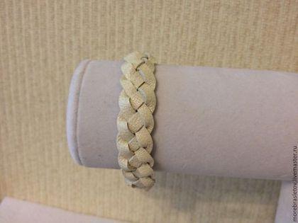 Браслеты ручной работы. Ярмарка Мастеров - ручная работа Распродажа!!! Белый кожаный браслет (плетеный). Handmade.