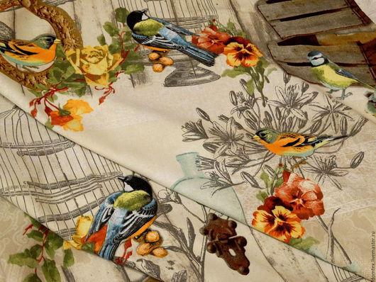 Ткань в стиле Прованс Птицы. Прованский стиль. Портьерная ткань. Птички. Шторы на заказ.