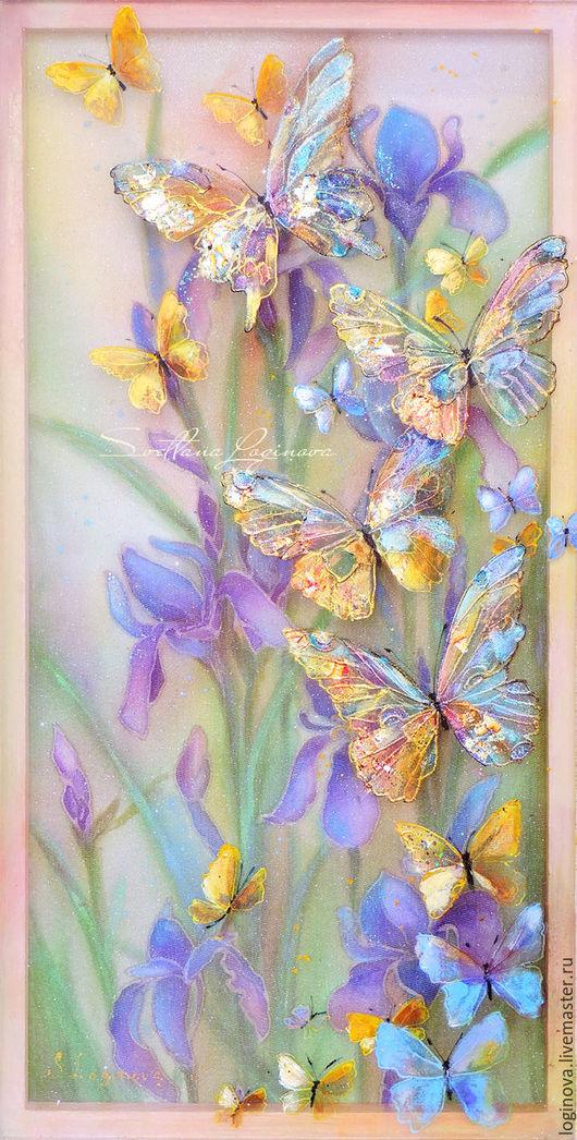 Картины цветов ручной работы. Ярмарка Мастеров - ручная работа. Купить Весна... бабочки...ирисы -картина на шелке объемная, трехслойная. Handmade.
