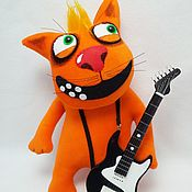 Куклы и игрушки handmade. Livemaster - original item Soft toy plush red cat with rock star guitar. Handmade.