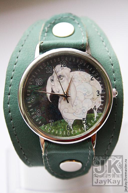 """Часы ручной работы. Ярмарка Мастеров - ручная работа. Купить Часы наручные JK """"Овечка"""". Handmade. Морская волна"""