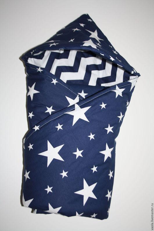 Для новорожденных, ручной работы. Ярмарка Мастеров - ручная работа. Купить Одеяло конверт для новорожденного. Handmade. Синий, одеяло детское