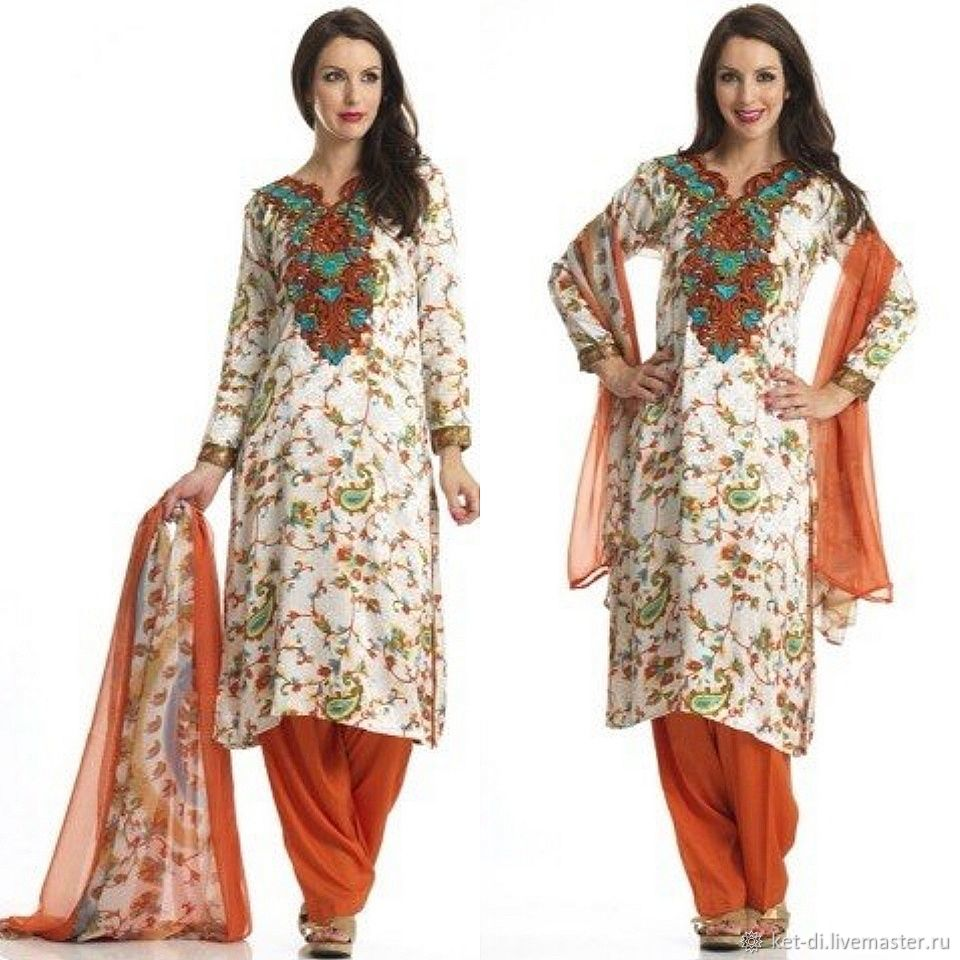 Salwar kameez made of crepe (tunic, trousers and shawl), Suits, Moscow,  Фото №1