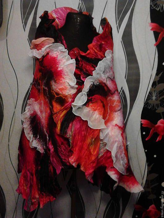 """Шали, палантины ручной работы. Ярмарка Мастеров - ручная работа. Купить Палантин """"Магия огня"""". Handmade. Ярко-красный, красный"""