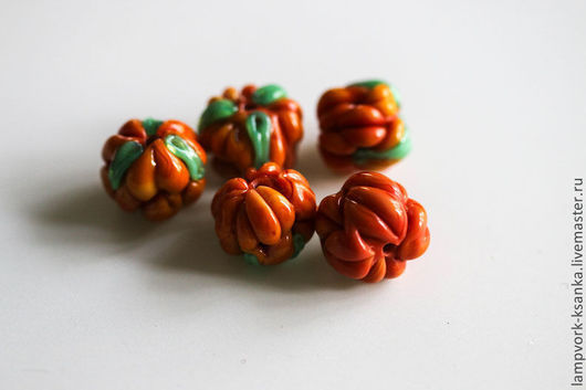 """Для украшений ручной работы. Ярмарка Мастеров - ручная работа. Купить Бусины лэмпворк """"Морошка"""". Handmade. Оранжевый, морошка"""