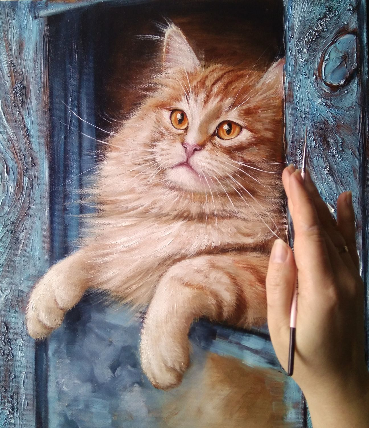 Oil painting March cat, Pictures, Zhitomir,  Фото №1