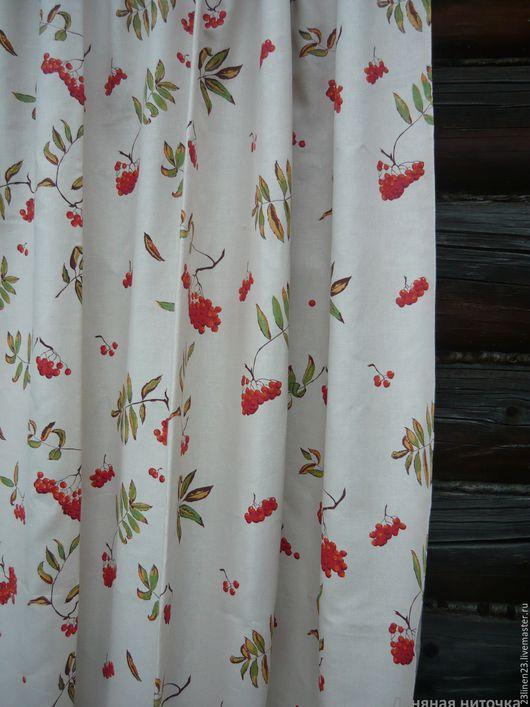 Текстиль, ковры ручной работы. Ярмарка Мастеров - ручная работа. Купить Льняные шторы Рябинка. Handmade. Красный, лен