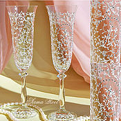 Свадебный салон ручной работы. Ярмарка Мастеров - ручная работа Свадебные Бокалы Сокровище Анжелики. Handmade.