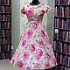 """Платья ручной работы. Ярмарка Мастеров - ручная работа. Купить Ретро платье в стиле 50-х """"Розовые розы о-о-о!"""". Handmade."""