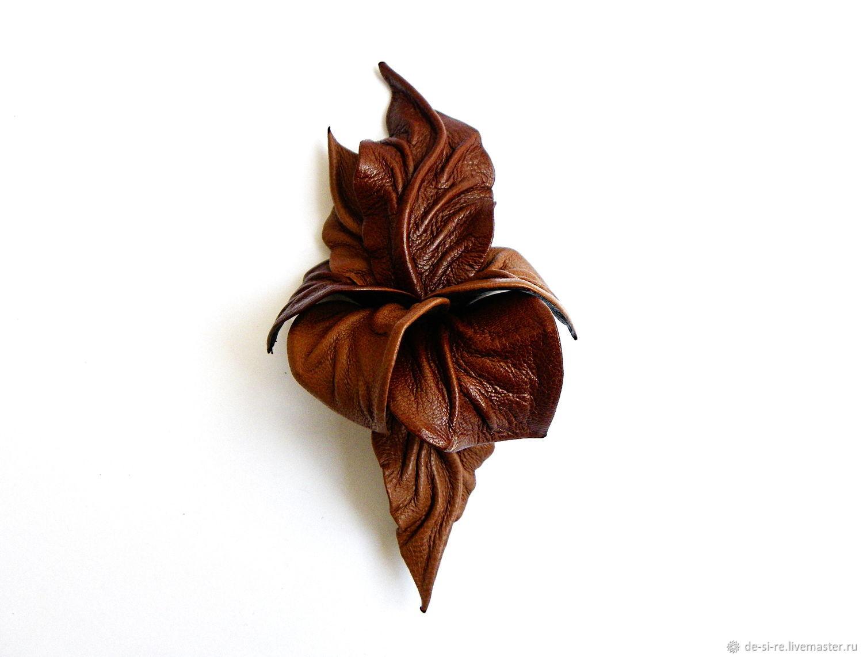Брошь цветок из кожи Каньон рыжий коричневый терракотовый – купить на Ярмарке Мастеров – 86WOVRU | Брошь-булавка, Москва