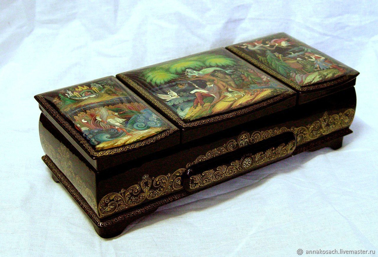 Lacquer box with the author's painting ' Lukomorye', Souvenirs3, Sizran,  Фото №1