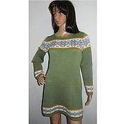 Одежда handmade. Livemaster - original item Knitted tunic with Scandinavian ornament Oliva. Handmade.