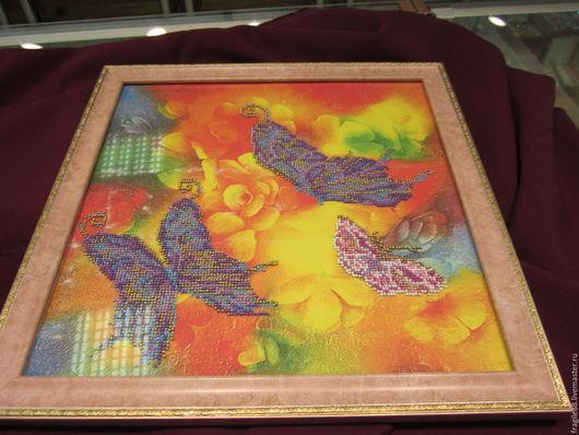 """Животные ручной работы. Ярмарка Мастеров - ручная работа. Купить Картина,вышитая бисером """"Летняя симфония"""". Handmade. Комбинированный, бабочки"""