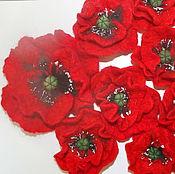 """Украшения ручной работы. Ярмарка Мастеров - ручная работа """"Мак"""" цветы валяные. Handmade."""