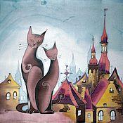 Картины и панно ручной работы. Ярмарка Мастеров - ручная работа Панно Кошки на крыше. Handmade.