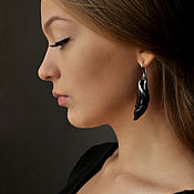 "Украшения handmade. Livemaster - original item Porcelain Earrings ""Foliage"", black porcelain. Handmade."