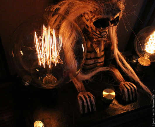Освещение ручной работы. Ярмарка Мастеров - ручная работа. Купить ЗНАК ВУДУ - лампа настольная. Handmade. Черный, светильник
