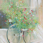 Картины и панно handmade. Livemaster - original item Flower bicycle. Handmade.
