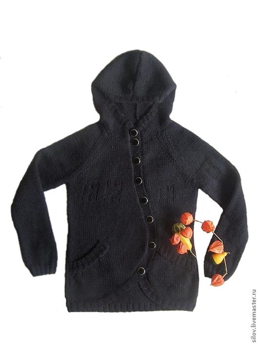 Кофты и свитера ручной работы. Ярмарка Мастеров - ручная работа. Купить Очень теплый вязаный кардиган.. Handmade. Черный, кардиган