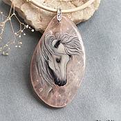 Украшения ручной работы. Ярмарка Мастеров - ручная работа Кулон Лошадь на розовом кварце. Handmade.