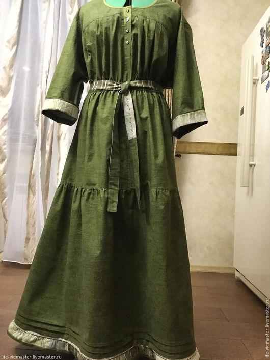 """Платья ручной работы. Ярмарка Мастеров - ручная работа. Купить Платье """" Хозяйка тайги"""". Handmade. Тёмно-зелёный, хлопок"""