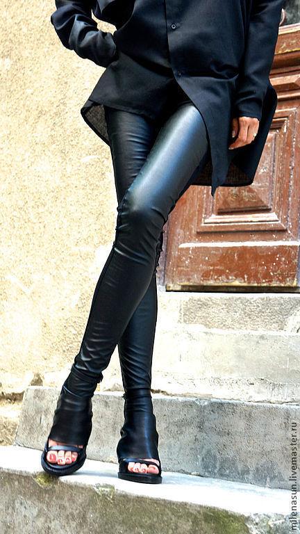 леггинсы, кожаные брюки, брюки, черные брюки. Ярмарка Мастеров