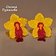 Колье `Желтые орхидеи` бусы с цветами из камей и стекла, серьги в комплект не входят, они продаются отдельно