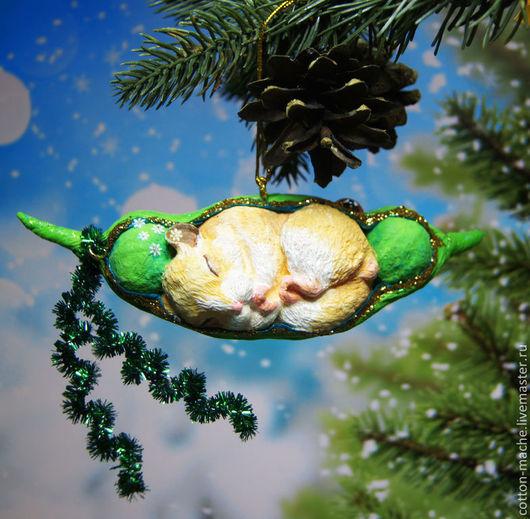 Новый год 2017 ручной работы. Ярмарка Мастеров - ручная работа. Купить Хомяк, елочные игрушки из ваты, ватная фигурка хомячок (ВИ-1407). Handmade.