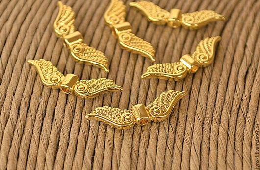 Для украшений ручной работы. Ярмарка Мастеров - ручная работа. Купить Бусина Крылья 22мм золото. Handmade. Бусина металлическая