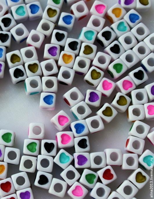 бусины акриловые кубики Сердечки 7х7мм