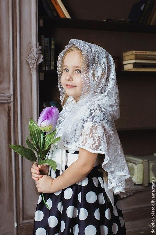 """Шали, палантины ручной работы. Ярмарка Мастеров - ручная работа. Купить платок в храм """"Анна"""". Handmade. Белый, платок в церковь"""