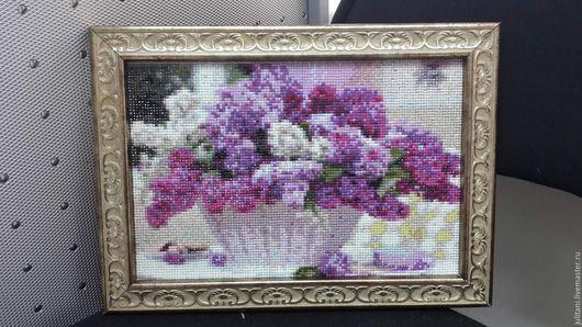 Картины цветов ручной работы. Ярмарка Мастеров - ручная работа. Купить Картина выполненная в технике алмазная мозайка. Handmade. Вышивка