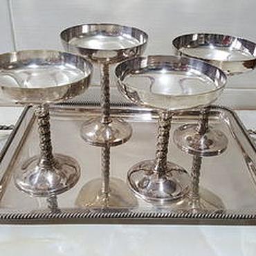 Посуда ручной работы. Ярмарка Мастеров - ручная работа Бокалы для вина с виноградной лозой 5 штук.  Посеребрянная сталь. Handmade.
