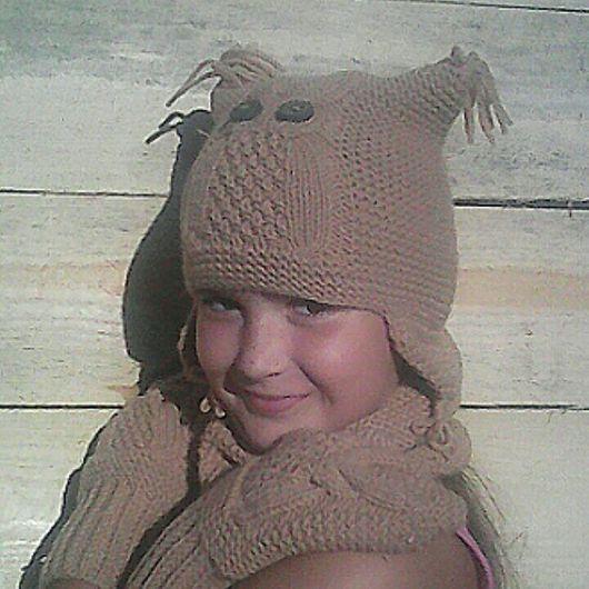 Для подростков, ручной работы. Ярмарка Мастеров - ручная работа. Купить Совы. Вязаный комплект осень: шапка, снуд, варежки.. Handmade.