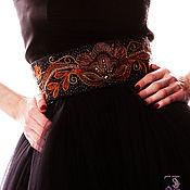 """Пояса ручной работы. Ярмарка Мастеров - ручная работа Пояс вышитый бисером """"Оранжевый цветы на черном поле"""". Handmade."""