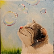 Картины и панно ручной работы. Ярмарка Мастеров - ручная работа Картина маслом  Летний кот. Handmade.