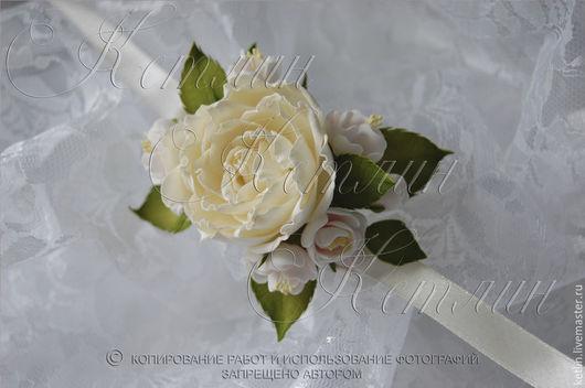 Браслеты ручной работы. Ярмарка Мастеров - ручная работа. Купить Цветочный браслет с розой и цветами вишни. Handmade. Белый, краска