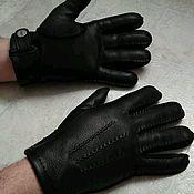Перчатки ручной работы. Ярмарка Мастеров - ручная работа Перчатки из кожи оленя мужские, черные с наружным швом. Handmade.