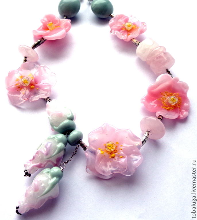 Beads Charm pink lampwork, Necklace, St. Petersburg,  Фото №1