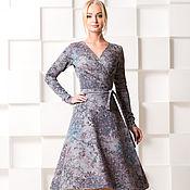 Одежда ручной работы. Ярмарка Мастеров - ручная работа Тёплое платье , на запах , с мерцающим блеском. Handmade.