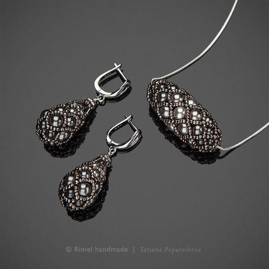 Серьги ручной работы. Ярмарка Мастеров - ручная работа. Купить «Steel Faberge» серьги и кулон из жемчуга Swarovski. Handmade.