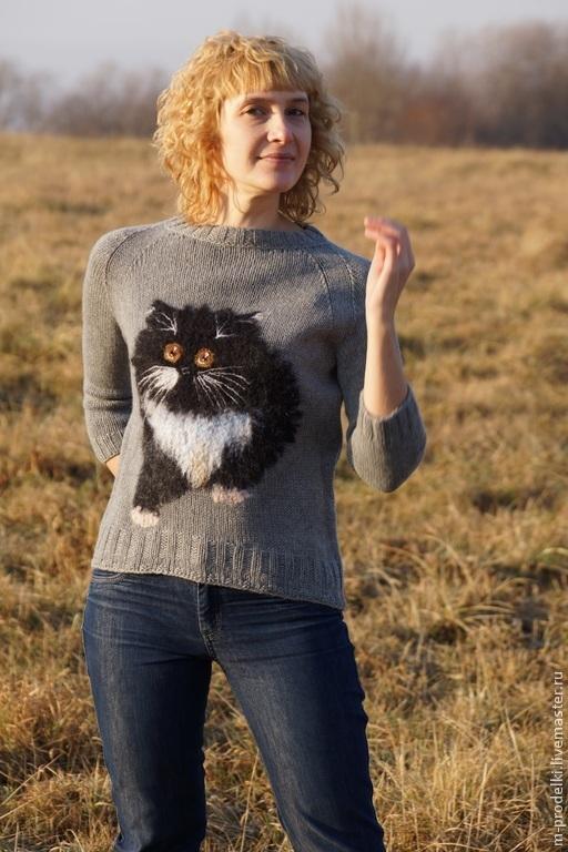 Кофты и свитера ручной работы. Ярмарка Мастеров - ручная работа. Купить Свитер вязаный Cat - 5. Handmade. Серый, уютный
