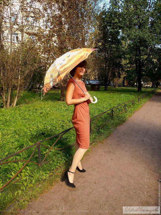 Моя прекрасная осень Авторская роспись на женском зонте-трости Шелковые Штучки Петербург Роспись на зонтах купить