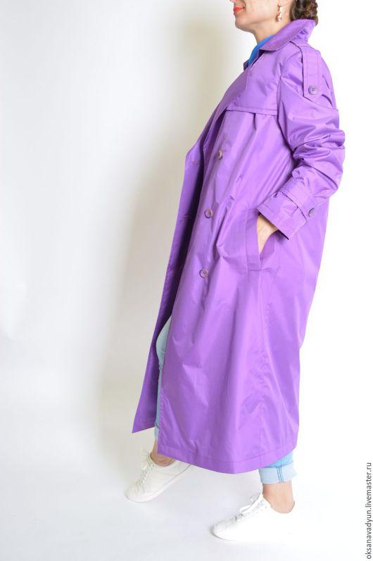 Верхняя одежда ручной работы. Ярмарка Мастеров - ручная работа. Купить Плащ Purple flowers. Handmade. Фиолетовый, дизайнерская одежда