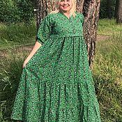 Платья ручной работы. Ярмарка Мастеров - ручная работа Платье льняное летнее «Пейсли на изумрудном». Handmade.